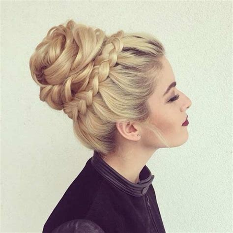 the triple braided bun with flower crown hairstyle design page 4 of 31 most beautiful updos for prom crown braids crown and