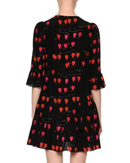 Print 3 4 Sleeve A Line Dress mcqueen neck petal print 3 4 sleeve a line