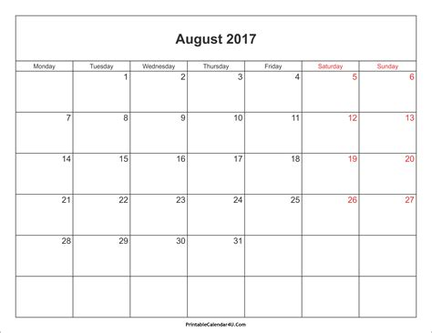 august 2017 calendar malaysia printable template with holidays