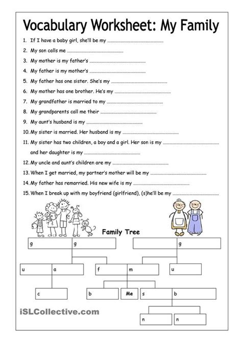 printable english worksheets high school vocabulary worksheet my family medium english 6th