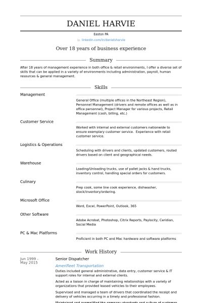 Dispatcher Resume Skills
