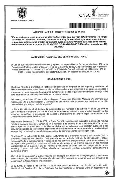 convocatoria docente cnsc 2016 acuerdo convocatoria 409 2016