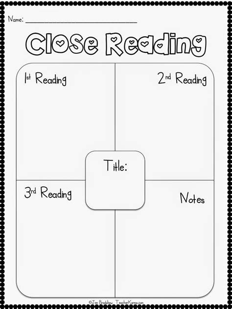 printable homework graphic organizer free close reading strategy and graphic organizer for the