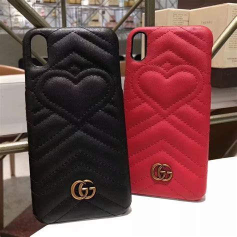 gucci leather heart phone case  iphone xs max   phone swag