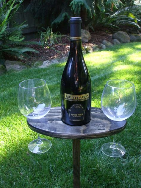 portable outdoor wine table and glass holder wine
