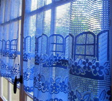 Blue Cafe Curtains Blue Lace Curtains Pair Window Curtains Blue Cafe Curtains Upcycled Lace Window And