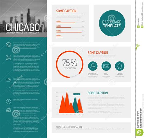 easy infographic template simple infographic dashboard template stock illustration