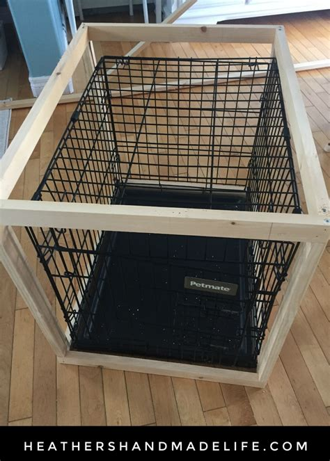 diy dog crate table top diy dog crate cover table 2 heather s handmade life