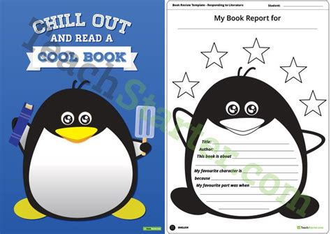 theme book report penguin themed book report template and poster teaching