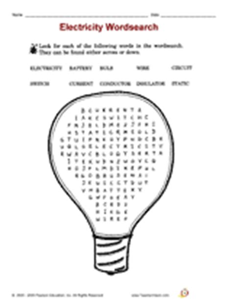 printable word search electricity electricity wordsearch printable 2nd 3rd grade