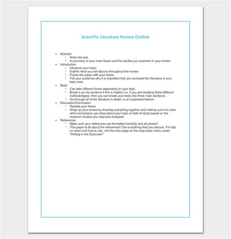 template for writing a literature review literature review outline template 20 formats exles