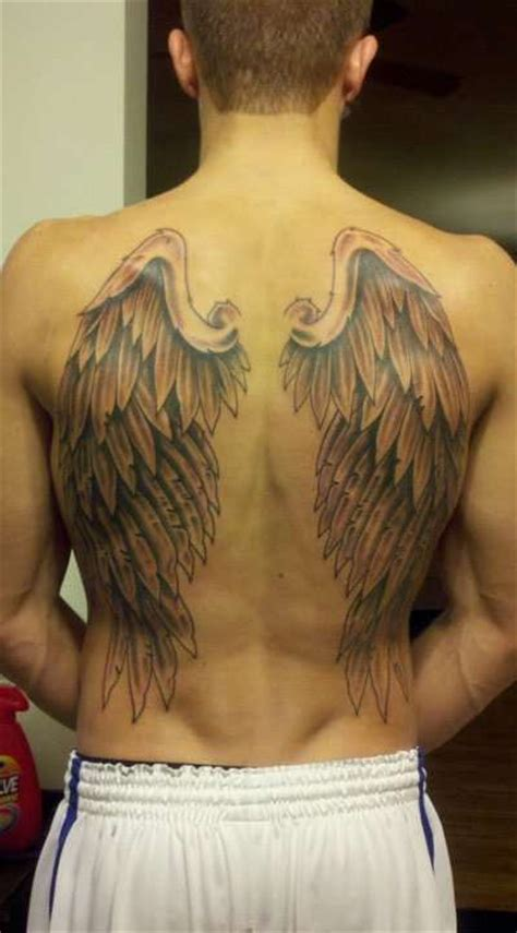 angel wings tattoo on back for men grey ink wings tattoos on back
