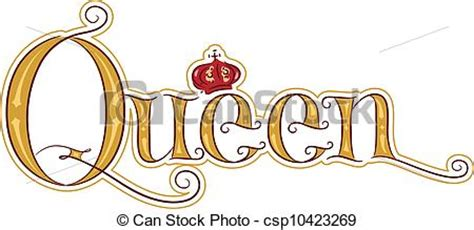 text illustration featuring the word queen clip art vector