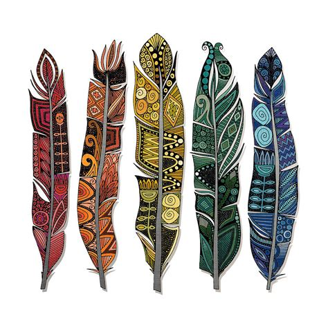 Boho Duvet Boho Feathers Drawing By Sharon Turner