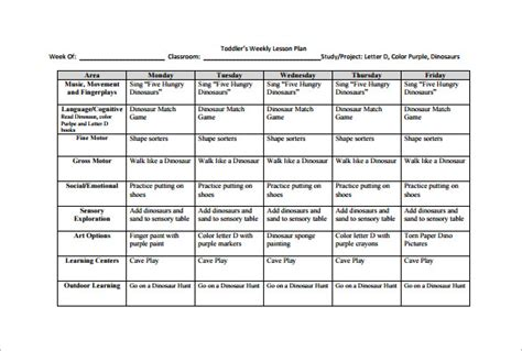 weekly lesson plan template 10 free sle exle