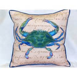blue crab beige large outdoor pillow