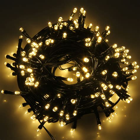 xmas christmas light 200led warm white string solar