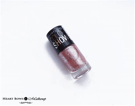 Maybelline Nail maybelline colorshow glitter mania nail pink chagne review swatches bows