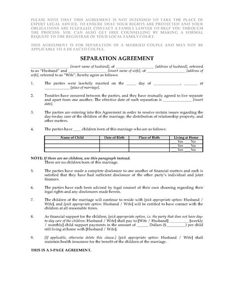 separation agreement template ontario new zealand separation agreement forms and