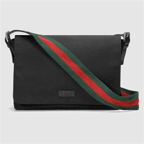 Wallet Gucci Set 2 Canvas 5521 lyst gucci black techno canvas messenger bag in black for