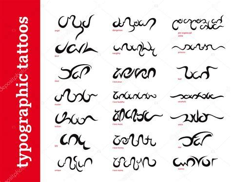 typographic calligraphic ornamental tattoos tribals