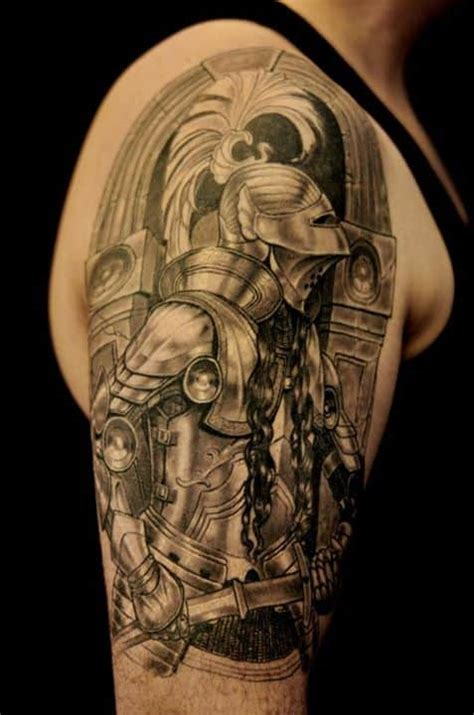 knight times tattoo half sleeve black and grey chronic ink