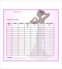 Wedding Guest List Template Free by Wedding Guest List Template 10 Free Sle Exle