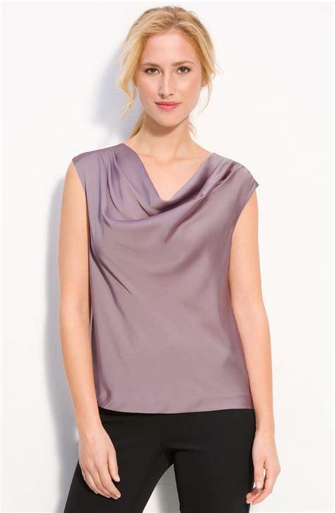 drape neck blouses amber sun drape neck blouse in purple stone haze lyst