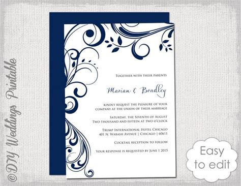 wedding invitation editing templates navy wedding invitation template quot scroll quot printable