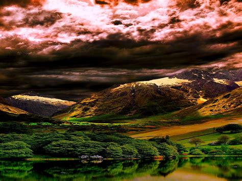 breathtaking scenery breathtaking scenery clouds field hills lake