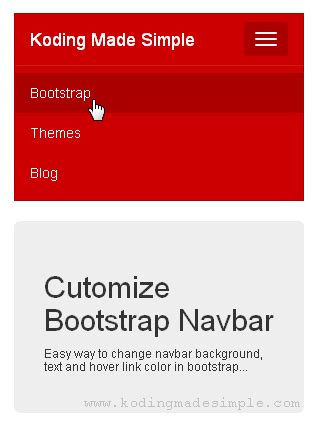 bootstrap navbar color change bootstrap navbar color text and hover color