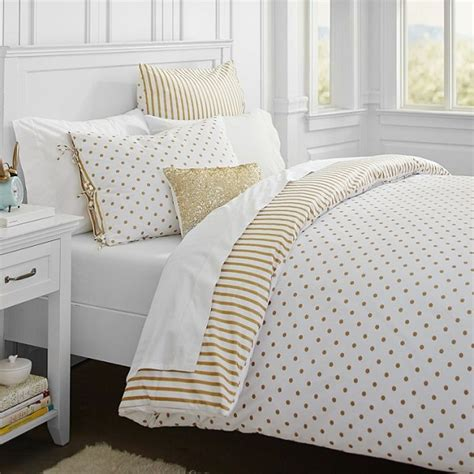 gold polka dot comforter emily meritt debut a line of home goods for pb teen decorating delirium