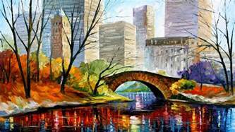 in color ny central park new york palette knife painting on