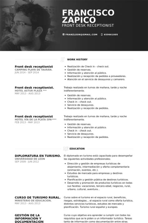 Resume Samples Hotel Management r 233 ceptionniste exemple de cv base de donn 233 es des cv de visualcv