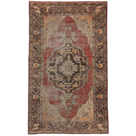 modern turkish rugs distressed vintage turkish oushak rug with modern industrial style for sale at 1stdibs