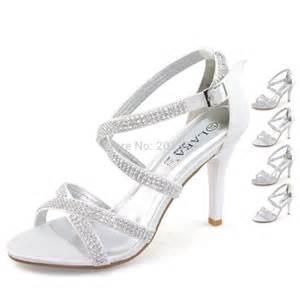 Wedding Shoes Brands Laras Brand Silver White Wedding Shoes For Women Ladies Diamond Diamante Stilettos High Heel