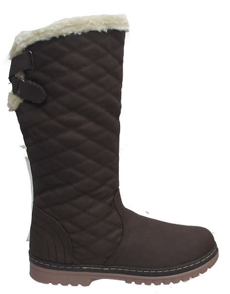 warm boots new winter womens quilted grip sole mid calf fur
