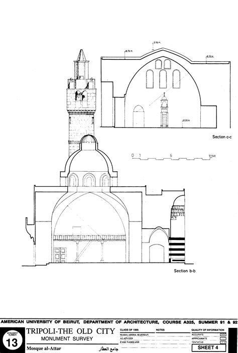 Jami Al Attar Drawing Of Attar Mosque Sections Archnet Architectural Plans Of Mosque