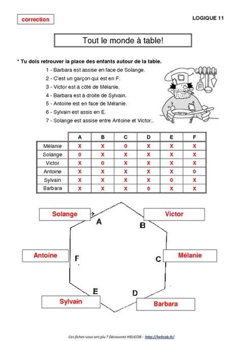 table logique probl 232 mes de logique ce2 cm1 exercices corrig 233 s