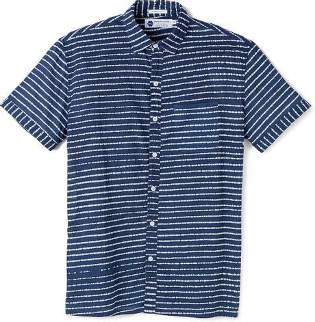 industry of all nations madras batik stripes shirt in blue