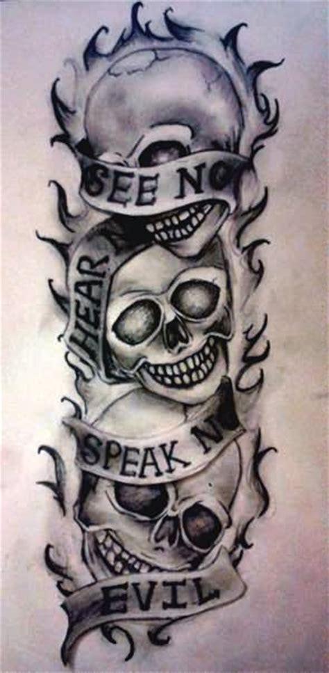see no evil hear no evil speak no evil skull designs