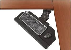 90 degree corner cut keyboard tray with articulating arm