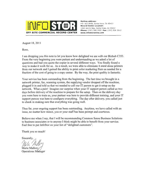 thank you letter business associates testimonial letters common sense business solutions