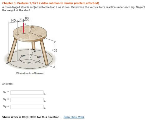 Three Legged C Stool by Solved A Three Legged Stool Is Subjected To The Load L As