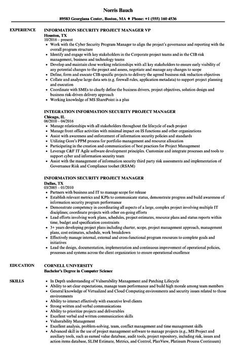 information security project manager resume sles