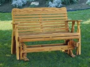 Wooden Glider Bench Amish Pine Wood Westchester Glider