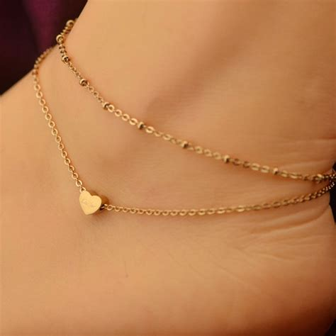 1pc gold tone ankle bracelet layer chain