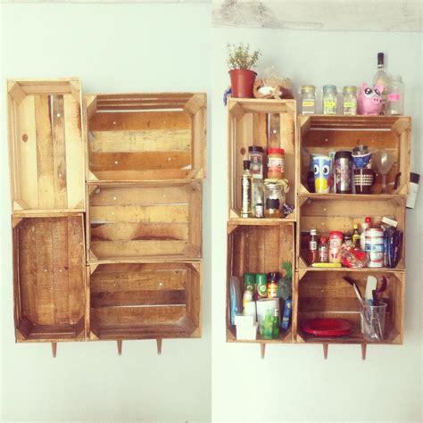 alacena con cajas recicladas proyectos de reciclaje con - Alacena Con Cajas De Madera