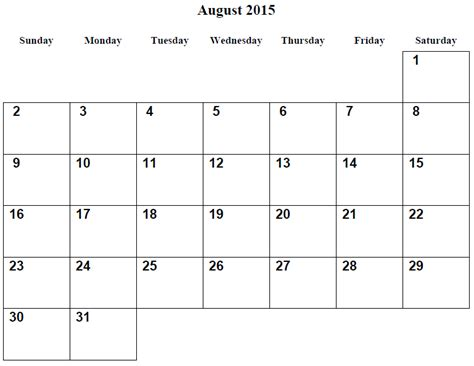 August Printable Calendar 2015 6 Best Images Of August 2015 Calendar Printable Free