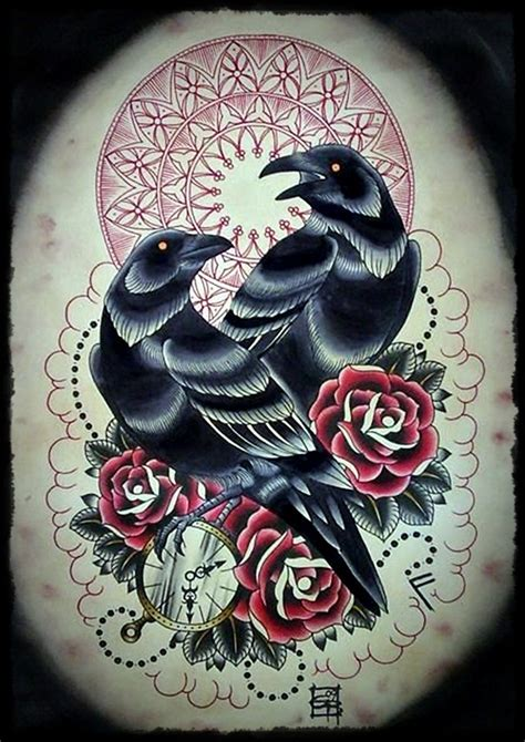 traditional crow tattoo designs 18